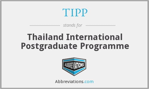 TIPP - Thailand International Postgraduate Programme