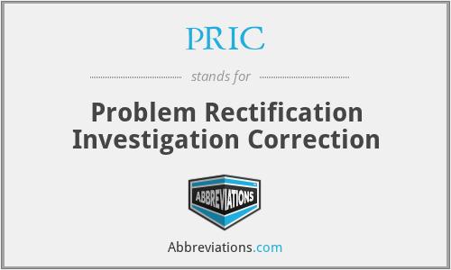PRIC - Problem Rectification Investigation Correction