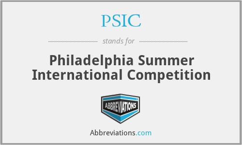 PSIC - Philadelphia Summer International Competition