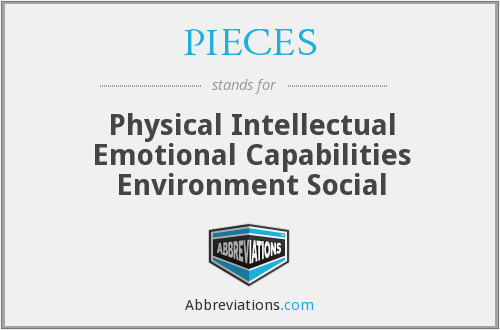 PIECES - Physical Intellectual Emotional Capabilities Environment Social