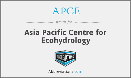 APCE - Asia Pacific Centre for Ecohydrology