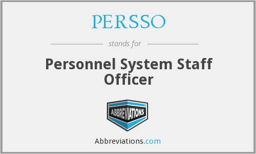 PERSSO - Personnel System Staff Officer