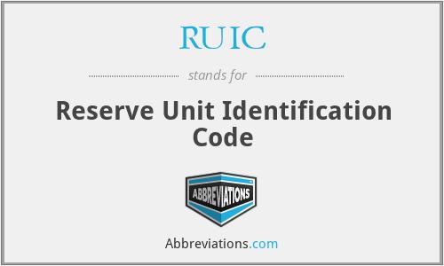 RUIC - Reserve Unit Identification Code