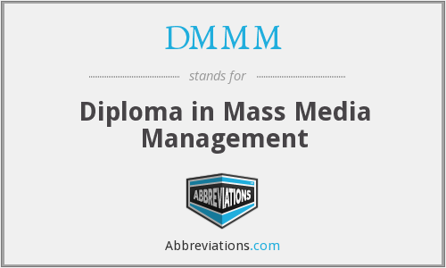 DMMM - Diploma in Mass Media Management