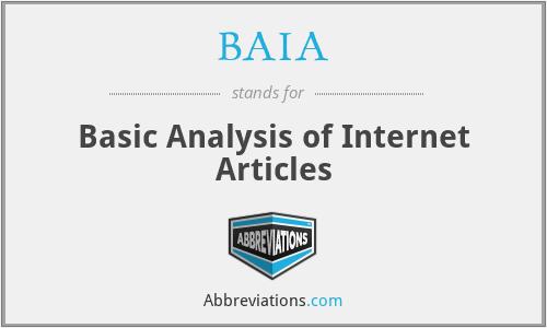 BAIA - Basic Analysis of Internet Articles