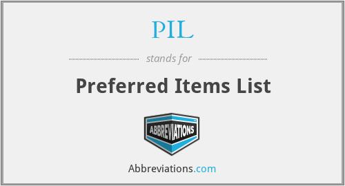 PIL - Preferred Items List