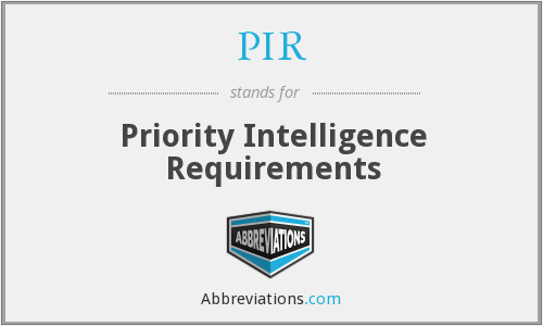 PIR - Priority Intelligence Requirements