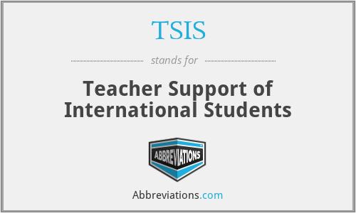 TSIS - Teacher Support of International Students