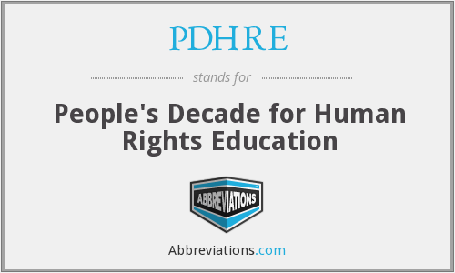 What does PDHRE stand for?