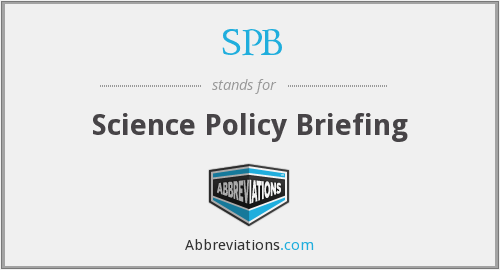 SPB - Science Policy Briefing