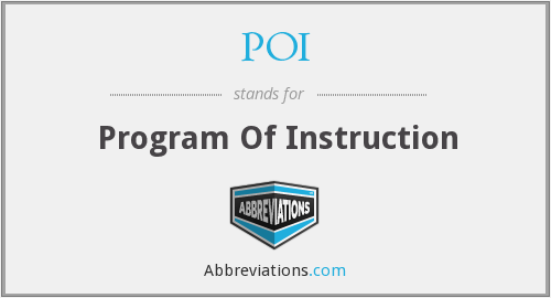 POI - Program Of Instruction