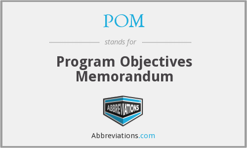 POM - Program Objectives Memorandum