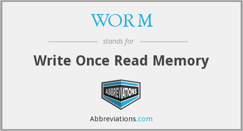 WORM - Write Once Read Memory