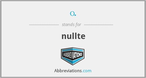 0. - nullte