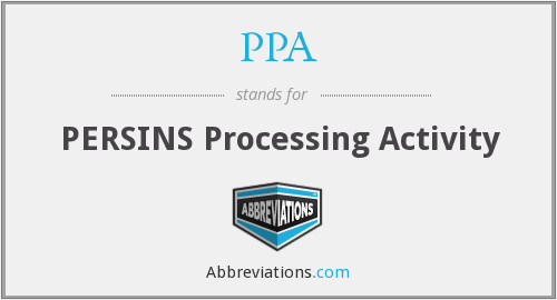 PPA - PERSINS Processing Activity