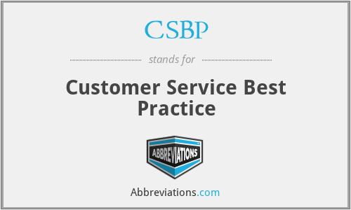 CSBP - Customer Service Best Practice