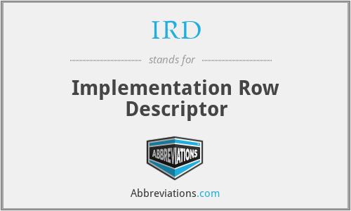 IRD - Implementation Row Descriptor