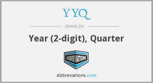 YYQ - Year (2-digit), Quarter