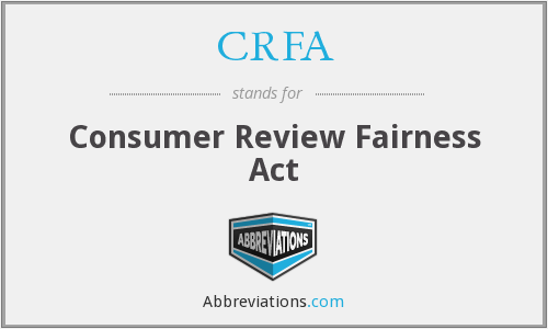CRFA - Consumer Review Fairness Act