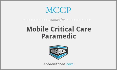 MCCP - Mobile Critical Care Paramedic