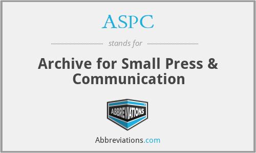 ASPC - Archive for Small Press & Communication