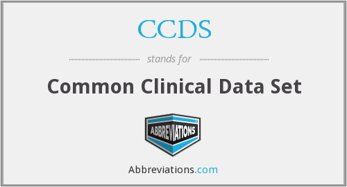 CCDS - Common Clinical Data Set