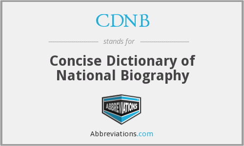 CDNB - Concise Dictionary of National Biography
