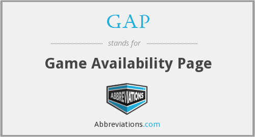 GAP - Game Availability Page