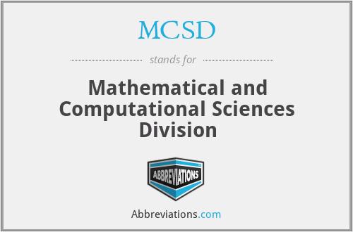 MCSD - Mathematical and Computational Sciences Division