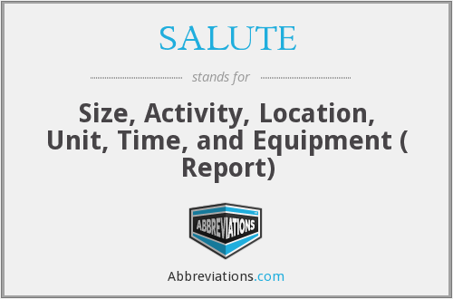 SALUTE - Size, Activity, Location, Unit, Time, and Equipment ( Report)