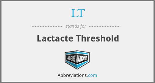 LT - Lactacte Threshold