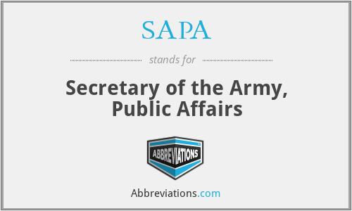 SAPA - Secretary of the Army, Public Affairs
