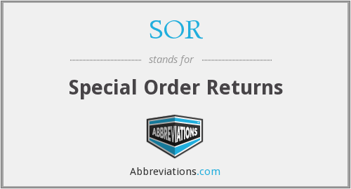 SOR - Special Order Returns
