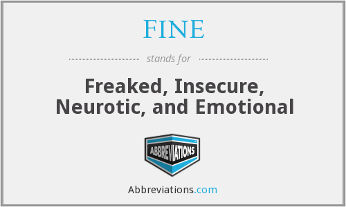 FINE - Freaked, Insecure, Neurotic, and Emotional