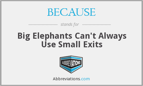 BECAUSE - Big Elephants Can't Always Use Small Exits