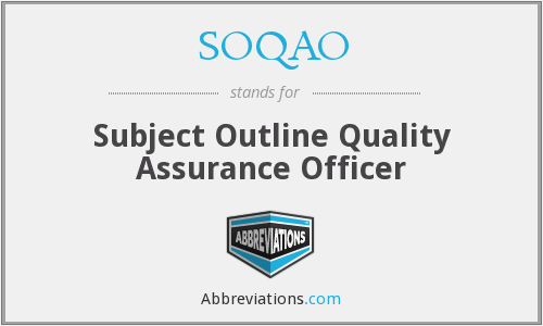 SOQAO - Subject Outline Quality Assurance Officer