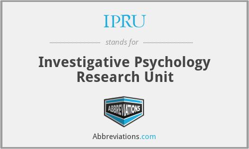 IPRU - Investigative Psychology Research Unit