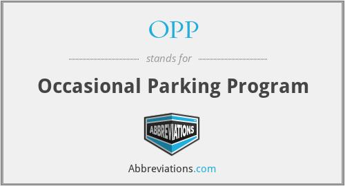 OPP - Occasional Parking Program
