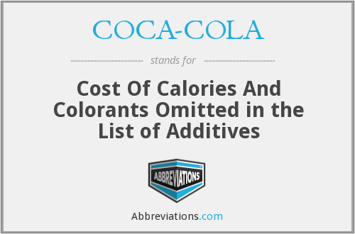 COCA-COLA - Cost Of Calories And Colorants Omitted in the List of Additives