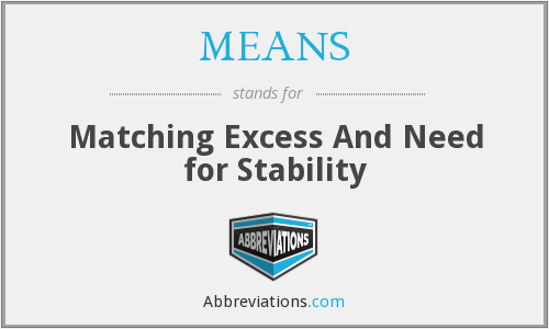 MEANS - Matching Excess And Need for Stability