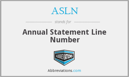 ASLN - Annual Statement Line Number