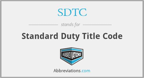 SDTC - Standard Duty Title Code