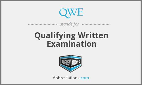 QWE - Qualifying Written Examination