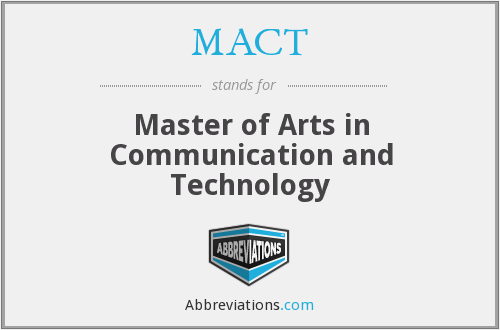 MACT - Master of Arts in Communication and Technology