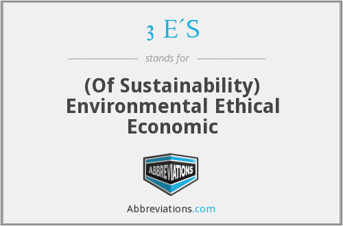 3 E'S - (Of Sustainability) Environmental Ethical Economic