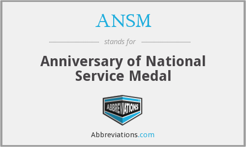 ANSM - Anniversary of National Service Medal
