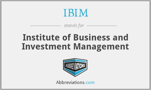 IBIM - Institute of Business and Investment Management