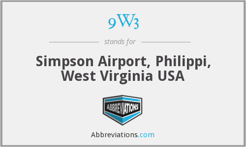 9W3 - Simpson Airport, Philippi, West Virginia USA