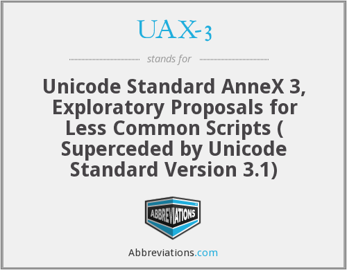 UAX-3 - Unicode Standard AnneX 3, Exploratory Proposals for Less Common Scripts ( Superceded by Unicode Standard Version 3.1)