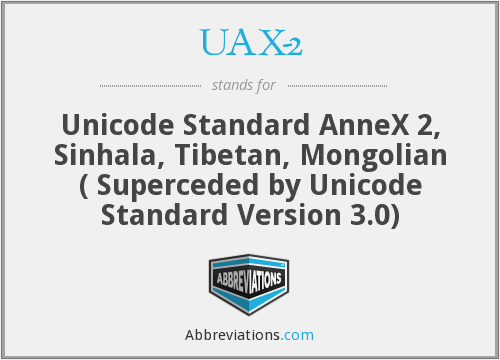 What is the abbreviation for Unicode Standard AnneX 2